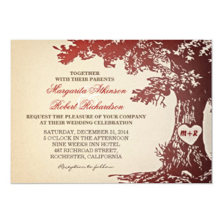 red vintage old oak tree wedding invitations