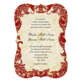 Red Vintage Paisley Damask Wedding Invitations