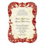 Red Vintage Paisley Damask Wedding 5x7 Paper Invitation Card
