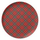 Red Vintage Plaid Pattern Melamine Plate