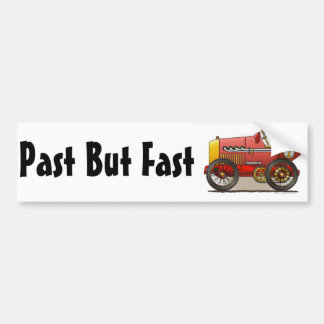 Red Vintage Race Car Past But Fast Bumper Sticker