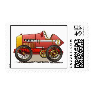 Red Vintage Race Car Stamps