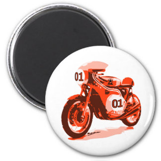 Red Vintage Racing Motorcycle 2 Inch Round Magnet
