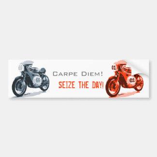 Red Vintage Racing Motorcycle Car Bumper Sticker