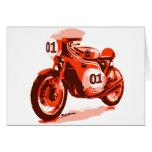 Red Vintage Racing Motorcycle Greeting Card