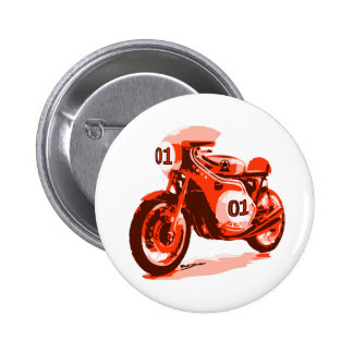 Red Vintage Racing Motorcycle Pinback Button