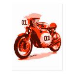 Red Vintage Racing Motorcycle Post Card