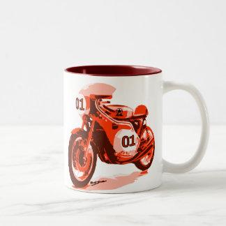 Red Vintage Racing Motorcycle Two-Tone Coffee Mug