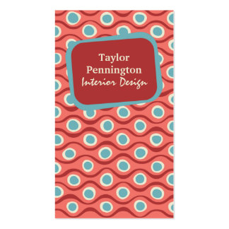 Red vintage retro abstract waves business card