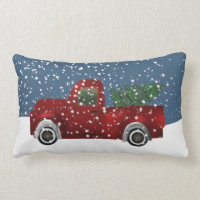 Red vintage Retro Truck and  Christmas Tree Lumbar Pillow