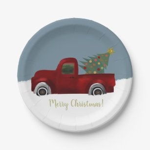 Red vintage Retro Truck and Christmas Tree Paper Plate  sc 1 st  Zazzle & Vintage Truck Plates | Zazzle