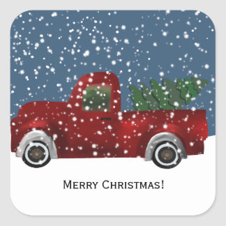 Red vintage Retro Truck and  Christmas Tree Square Sticker
