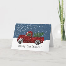 Red vintage Retro Truck Christmas Tree Holiday Card