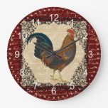 Red Vintage Rooster Large Clock