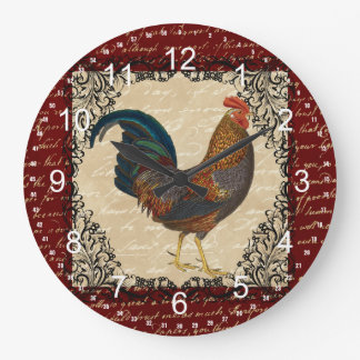 Red Vintage Rooster Large Clock