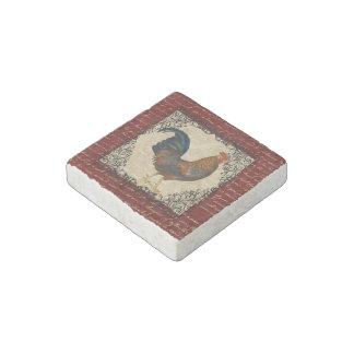 Red Vintage Rooster Stone Magnet