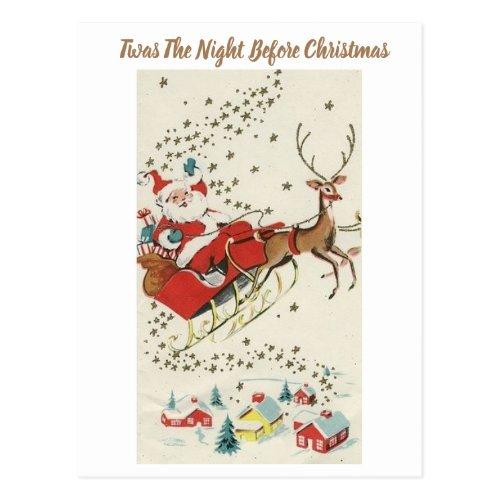 Red Vintage Santa Claus Flying Reindeer Stars Postcard