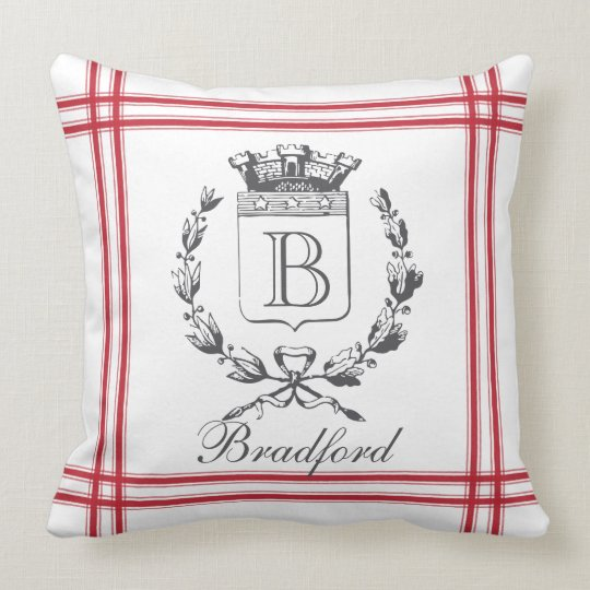 Red Vintage Style French Personalized Monogram Throw