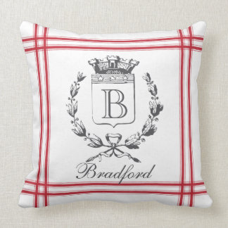 Red Vintage Style French Personalized Monogram Throw Pillow
