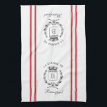 """Red Vintage Style French Sack with Custom Name Kitchen Towel<br><div class=""""desc"""">Vintage French etched graphics and crimson red ticking tape stripes are the perfect addition to your French country kitchen decor on this waffle knit custom towel. Don't forget the finishing touch of personalization with your monogram and family name.</div>"""