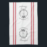 "Red Vintage Style French Sack with Custom Name Towel<br><div class=""desc"">Vintage French etched graphics and crimson red ticking tape stripes are the perfect addition to your French country kitchen decor on this waffle knit custom towel. Don&#39;t forget the finishing touch of personalization with your monogram and family name.</div>"
