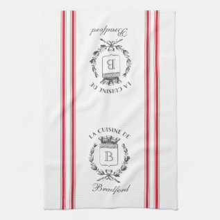 Red Vintage Style French Sack With Custom Name Towel at Zazzle