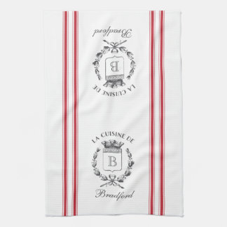 Red Vintage Style French Sack with Custom Name Towel
