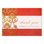 Red Vintage Swirl Wedding Thank You Card