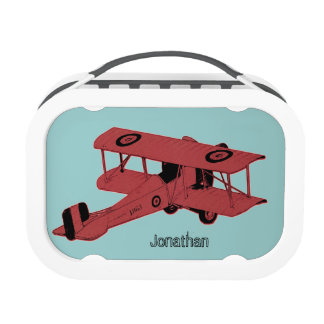 red vintage toy biplane lunch box