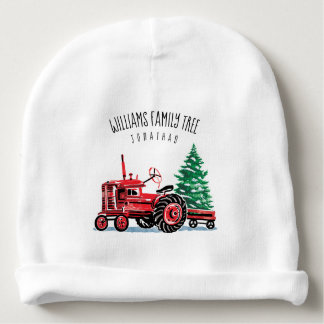 Red Vintage Tractor Christmas Tree Add Name Baby Beanie