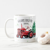 Red Vintage Tractor Christmas Tree Add Name Coffee Mug