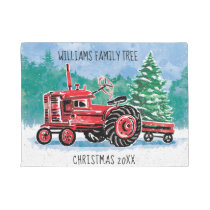 Red Vintage Tractor Christmas Tree Add Name Doormat