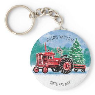 Red Vintage Tractor Christmas Tree Add Name Keychain