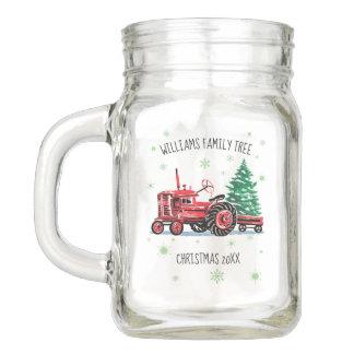 Red Vintage Tractor Christmas Tree Add Name Mason Jar
