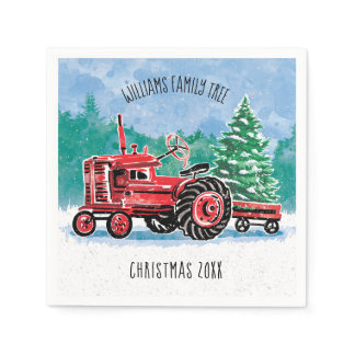 Red Vintage Tractor Christmas Tree Add Name Napkins