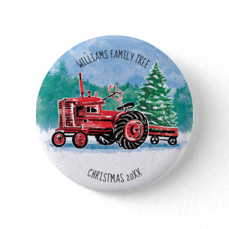 Red Vintage Tractor Christmas Tree Add Name Pinback Button