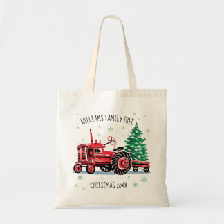 Red Vintage Tractor Christmas Tree Add Name Tote Bag