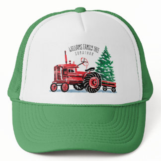 Red Vintage Tractor Christmas Tree Add Name Trucker Hat