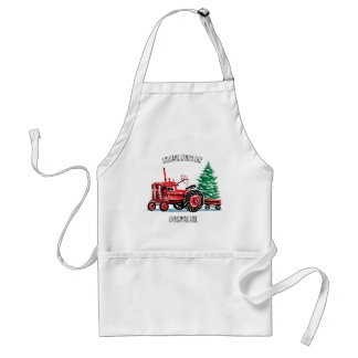 Red Vintage Tractor Christmas Tree Chef Adult Apron