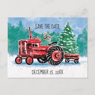 Red Vintage Tractor Christmas Tree Save the Date Announcement Postcard