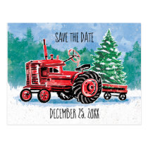 Red Vintage Tractor Christmas Tree Save the Date Postcard