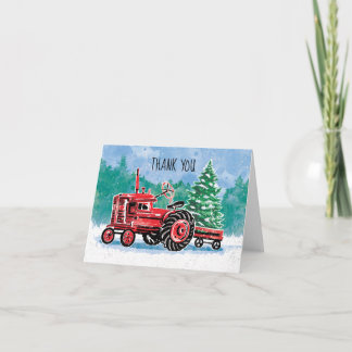 Red Vintage Tractor Christmas Tree Thank You