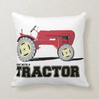 Red Vintage tractor Throw Pillow