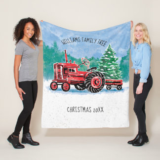 Red Vintage Tractor w/ Christmas Tree Add Name Fleece Blanket