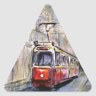 Red vintage tram triangle sticker