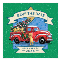 Red Vintage Truck Dog Family Christmas Party Invitation