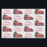 "Red Vintage Truck with Toys Merry Christmas Tissue Paper<br><div class=""desc"">Celebrate the holidays with this retro inspired tissue paper. This design features a red vintage truck filled with gifts and toys including a cute teddy bear. Above the truck in red script typography reads ""Merry Christmas!"" Wrap your gifts in style. Designed by artists © Tim Coffey and Susan Coffey.</div>"