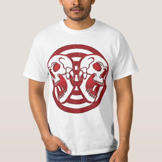 Red Vintage Two Skull T-shirt