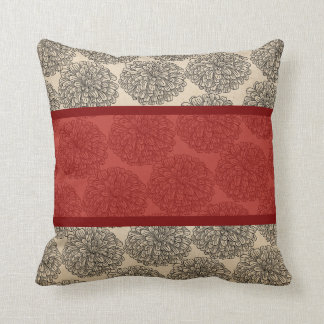 Red Vintage Zinnia Pillow