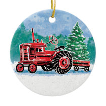 Red VintageTractor Christmas Tree Add Name Ceramic Ornament
